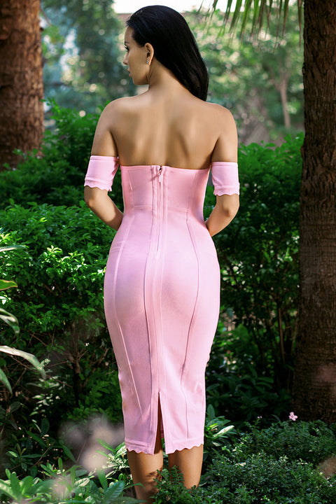 Sexy Square Neck Pale Pink Bandage Dress gallery 5