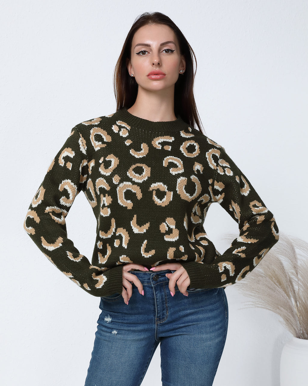 All Over Print Rib-Knit Sweater