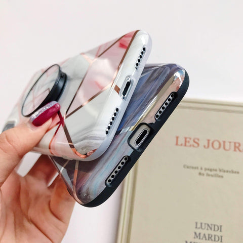 Rhombus Electroplate Marble Phone Case for Samsung with Phone Holder gallery 3