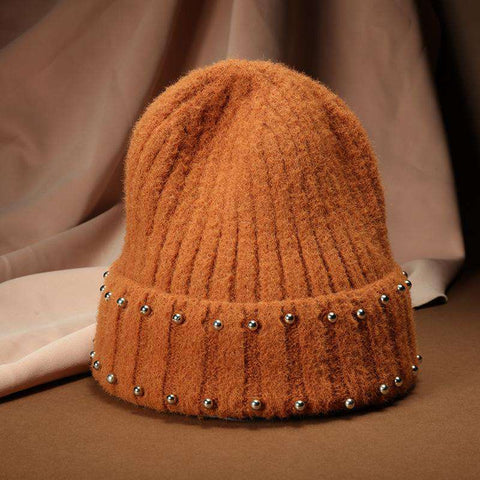 Punk Style Beaded Knit Beanie Hat gallery 4