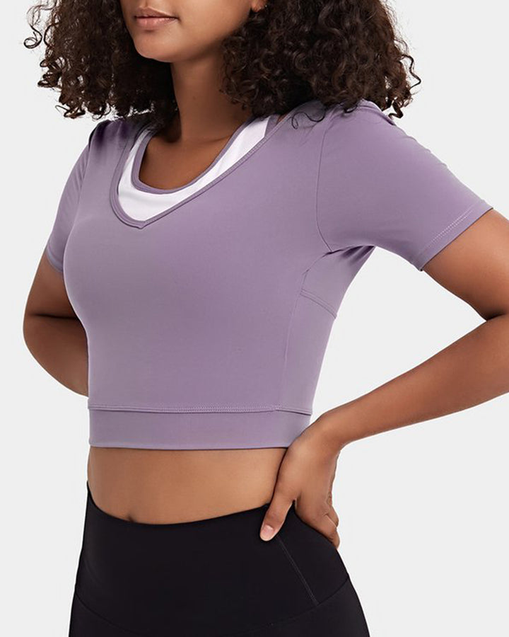 Colorblock Cut Out Bodycon Crop Sports Top gallery 8