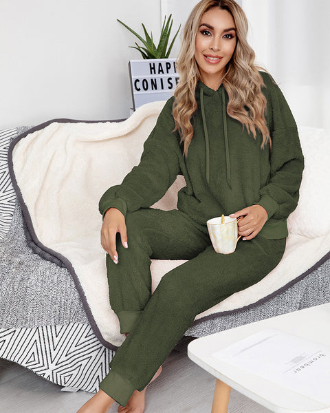 Solid Fluffy Drawstring Pockets Detail Hooded Top & Pant Set