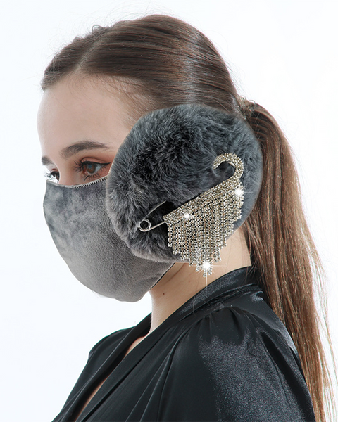 Letter Embroidery Rhinestone Tassels Decor Detachable Earmuff Mask gallery 1