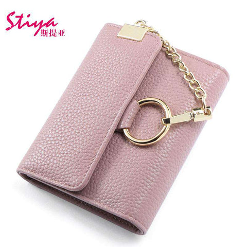 Korean Style Short Sized Cow Leather Wallet With Chain And Ring Elements gallery 5