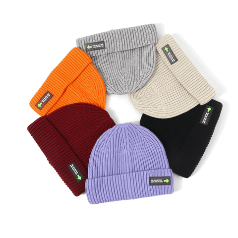 6 Colors Rib Knit Cuffed Beanie Hat With Tag gallery 12