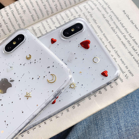 Glitter Moon Heart Pattern Crystal Detail Phone Case for Samsung gallery 7