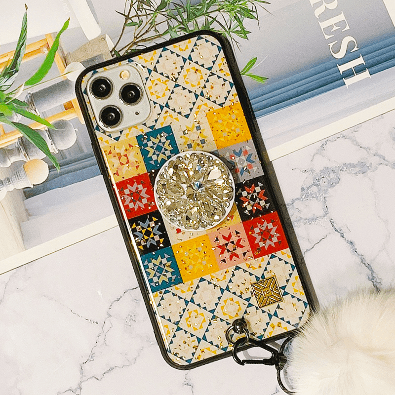 Chic Retro Floral Pattern Design iPhone Case with Phone Holder and Pom-pom