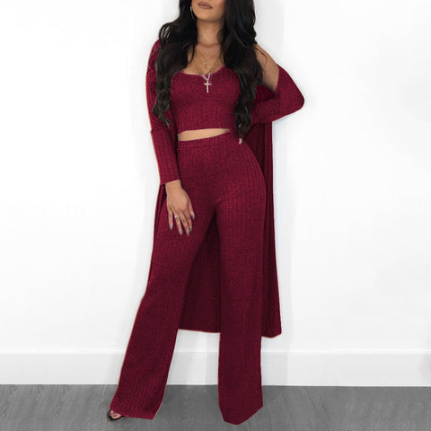 Knit Scoop Neck Ribbed Wide Leg Top & Cardigan & Pants Set gallery 2