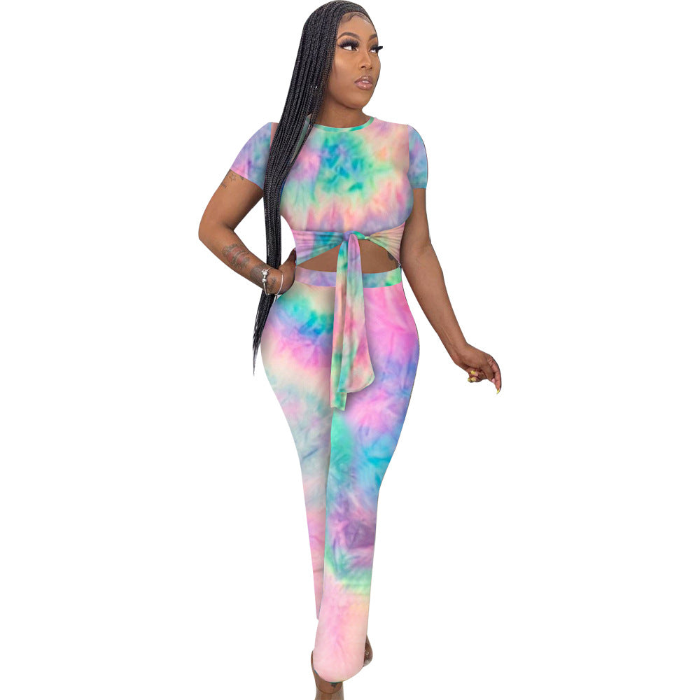Tie Dye Stripe Print Round Neck Tied Front Top & Pant Set