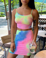 Chic Tie Dye Spaghetti Strap Mini Skirt Set