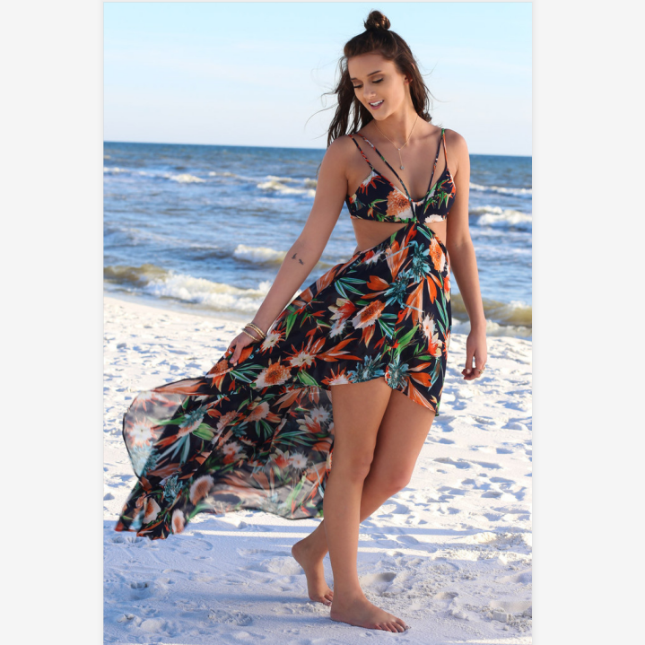 Tropical Print Cut Out Asymmetric Hem Strappy Midi Dress