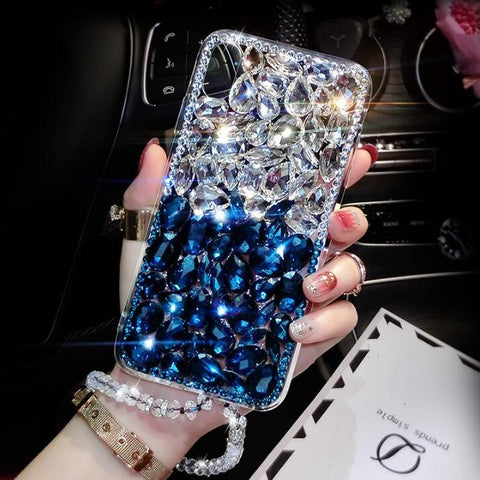 Clear Glittering Rhinestone Phone Case for Samsung with Wrist Strap gallery 5