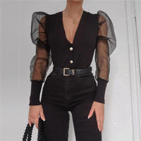 Black Plunge Mesh Puff Sleeve Button Detail Ribbed Sweater