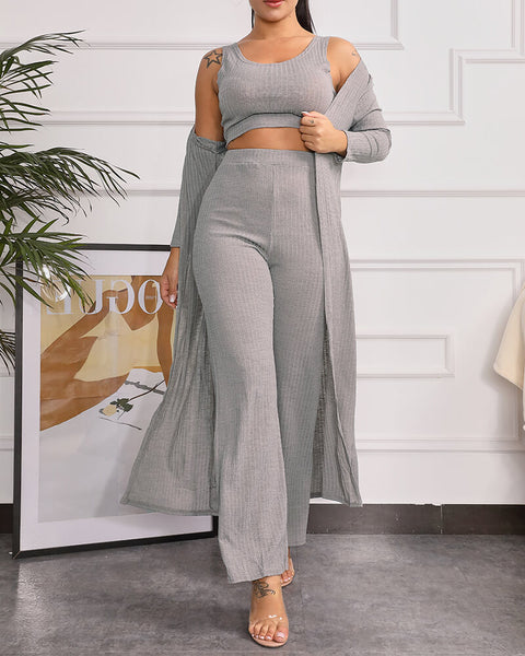 Ribbed Scoop Neck Top & Pant Set with Robe