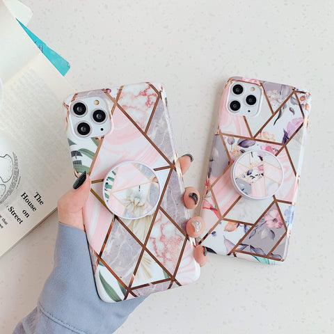 Rhombus Stitching Marble iPhone Case with Phone Holder