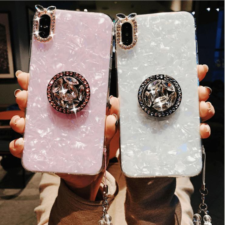 Elegant Shell Pattern Phone Case for Samsung with Artificial Rhinestone Diamond Phone Holder