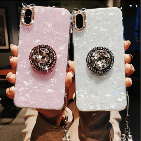 Elegant Shell Pattern Phone Case for Samsung with Artificial Rhinestone Diamond Phone Holder gallery 1