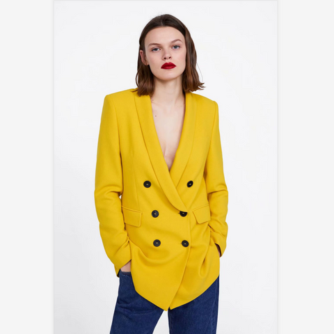 Yellow Plunge Double Breasted Pocket Front Blazer
