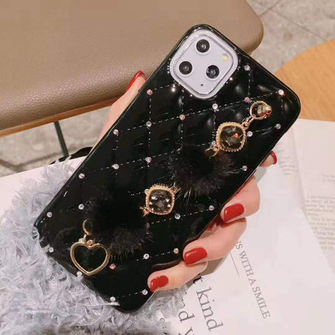 PU Leather Rhinestone Deco Phone Case for Samsung with Wrist Strap gallery 2