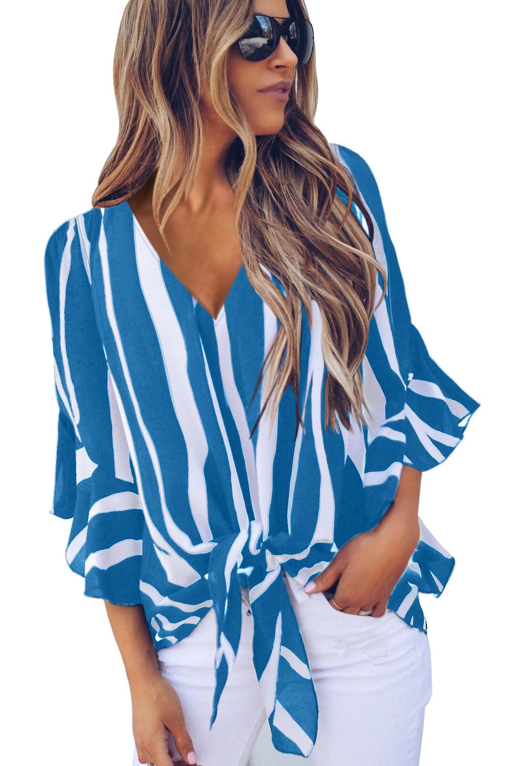 Sky Blue Vertical Stripes V Neck 3/4 Sleeve Blouse