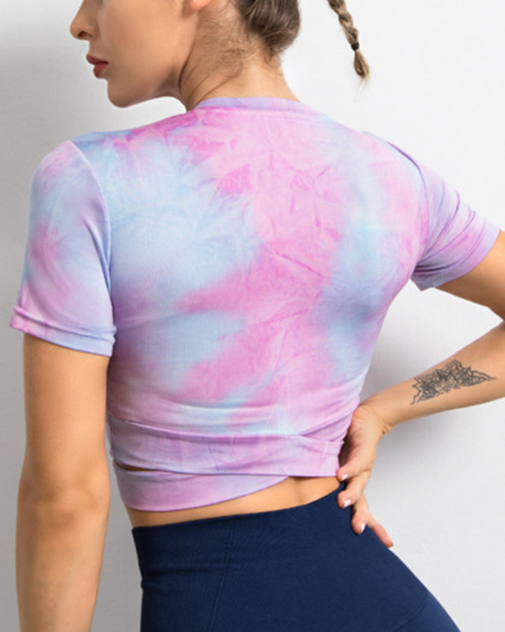 Tie Dye Overlap Hollow Out Crop Sports Top gallery 7