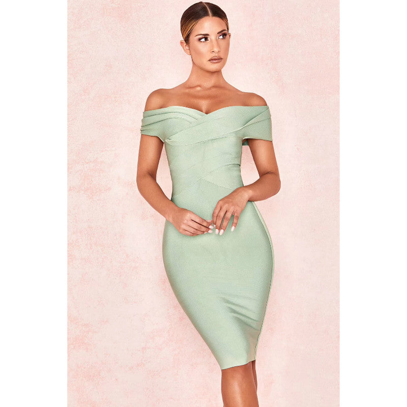 Soft Green Off Shoulder Bodycon Party Dress
