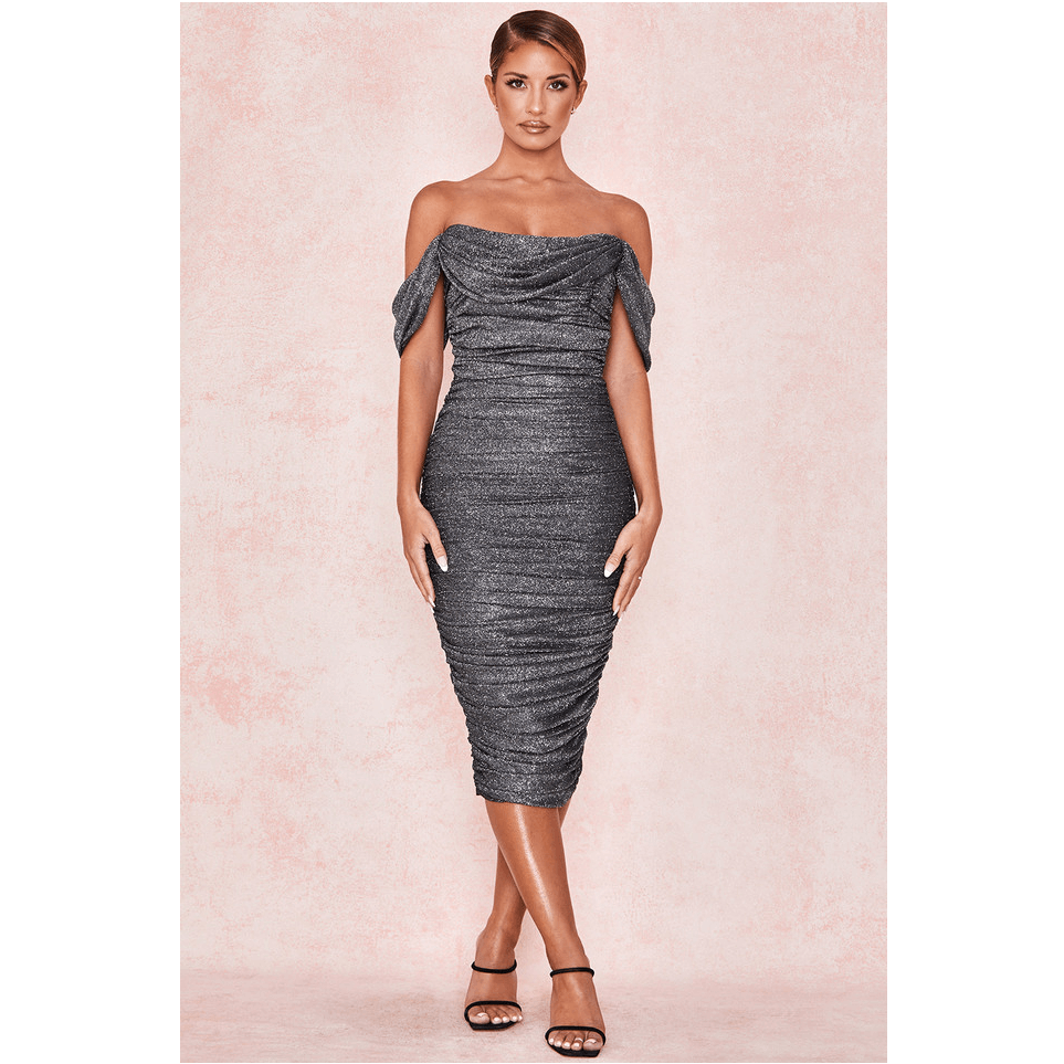Grey Glitter Off Shoulder Ruched Bodycon Dress
