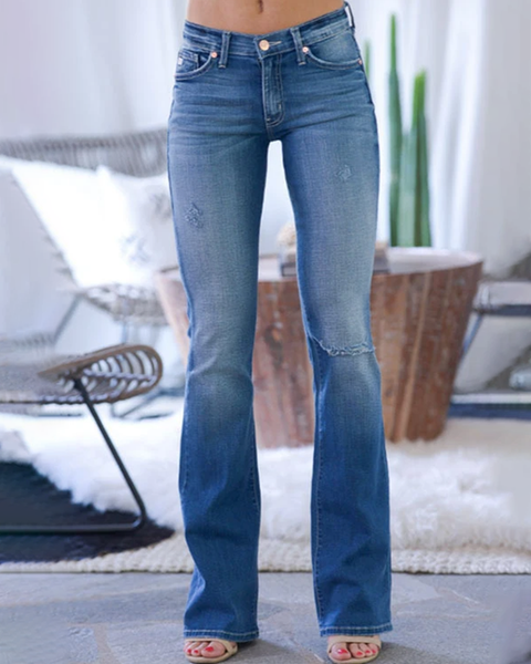 Classic Knee Ripped Flare Jeans