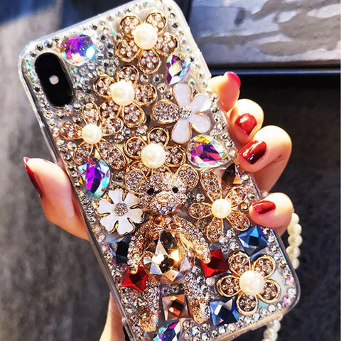Luxury Floral Full Rhinestone Cover Phone Case for Samsung gallery 3