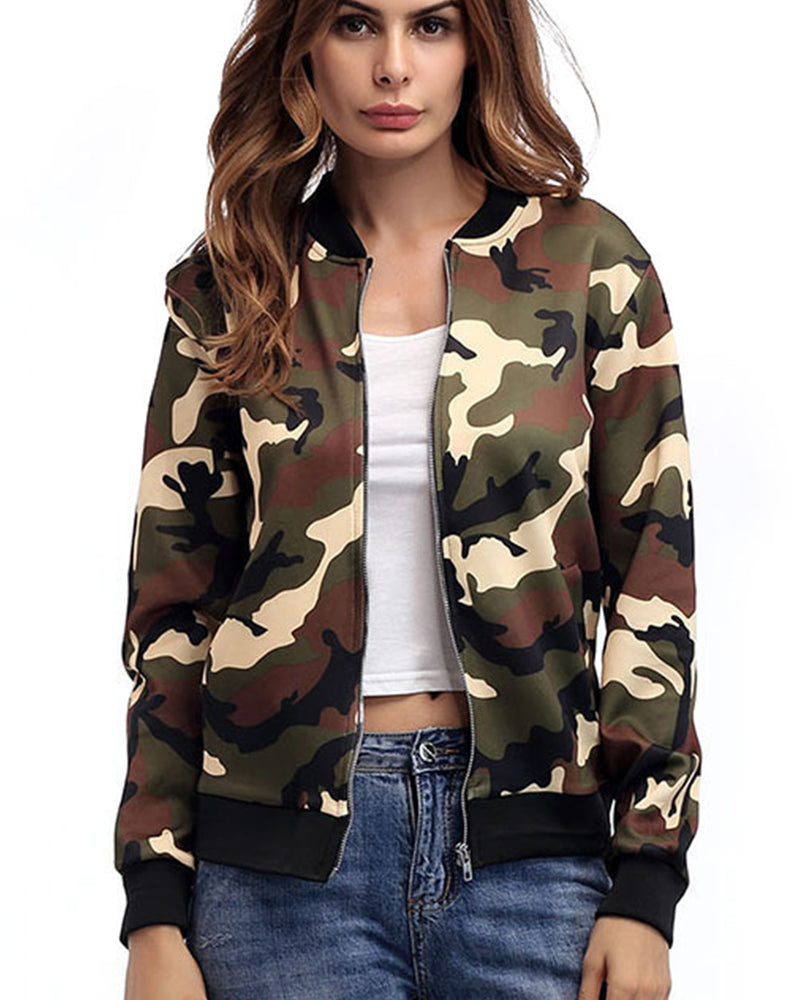 Camo Print Zip Up Sports Jacket