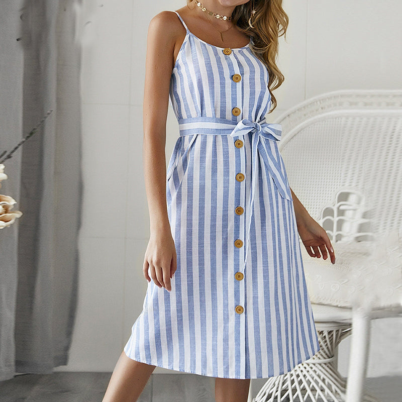 Strap Striped Maxi Sundress