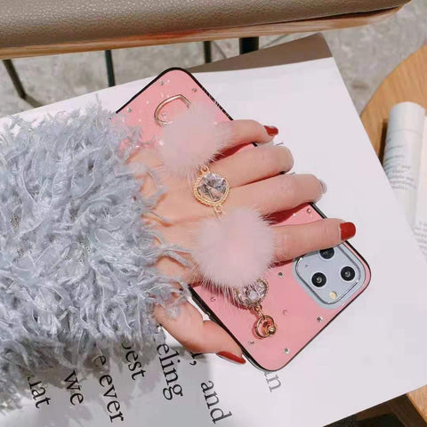 PU Leather Rhinestone Deco Phone Case for Samsung with Wrist Strap gallery 5