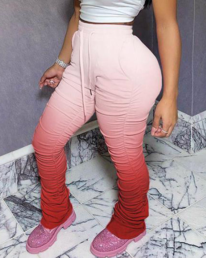 Ombre Drawstring Slant Pocket Stacked Pants gallery 6