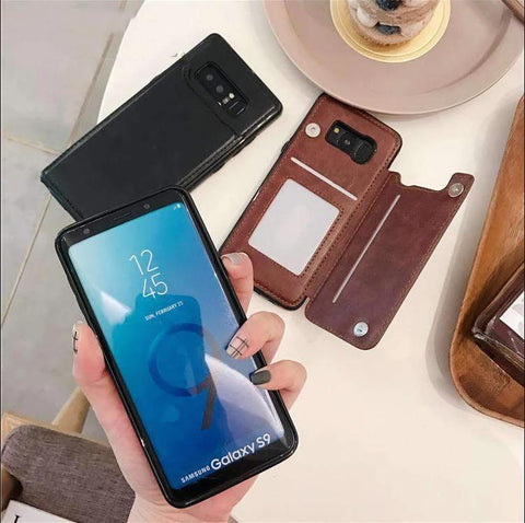 Concise Card Pluggable Leather Phone Case for Samsung gallery 5