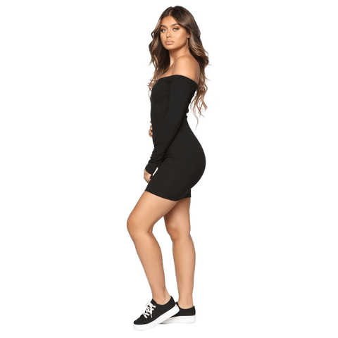 Shape Off Shoulder Ribbed Knitted Bodycon Dress gallery 8