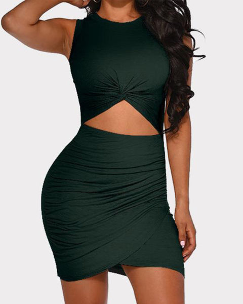 Solid Cut Out Front Wrap Mini Dress
