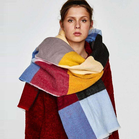 Multicolored Oversized Patchwork Scarf With Frayed Edges, Multifuntional Fashionable Winter Check Muffle gallery 1