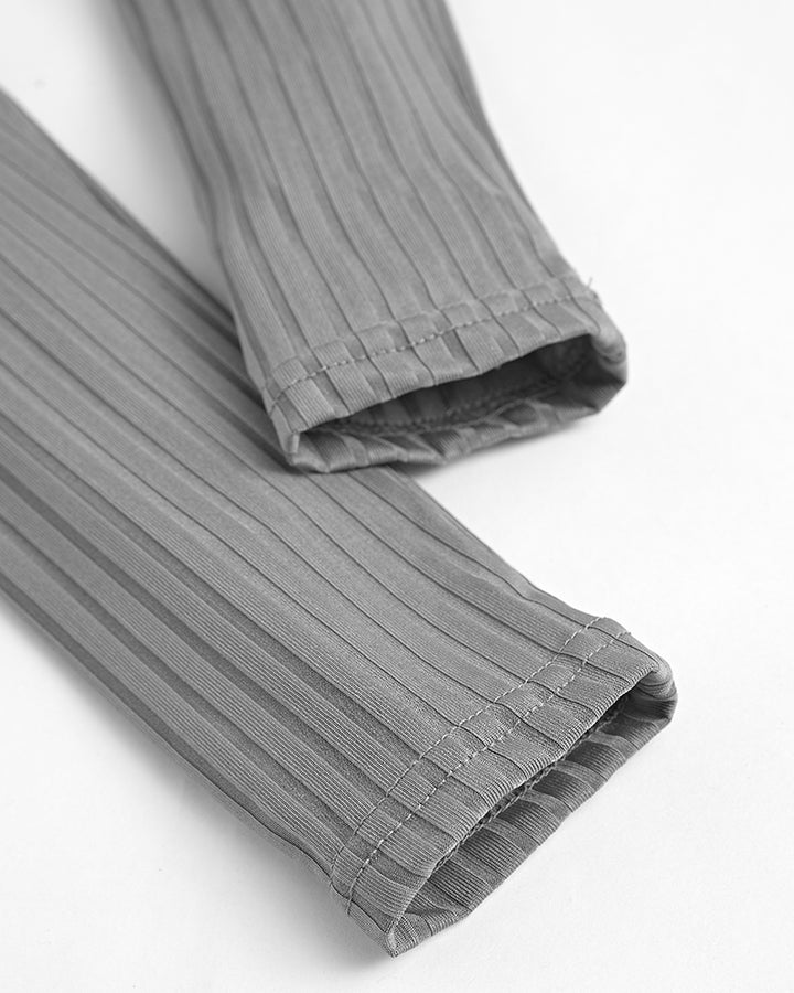 Solid Ribbed High Waist 3 Piece Pants Set gallery 14