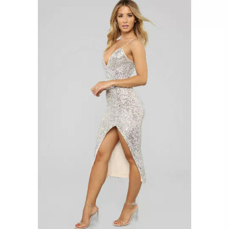 Sexy Sequin Deep V Split Party Dress
