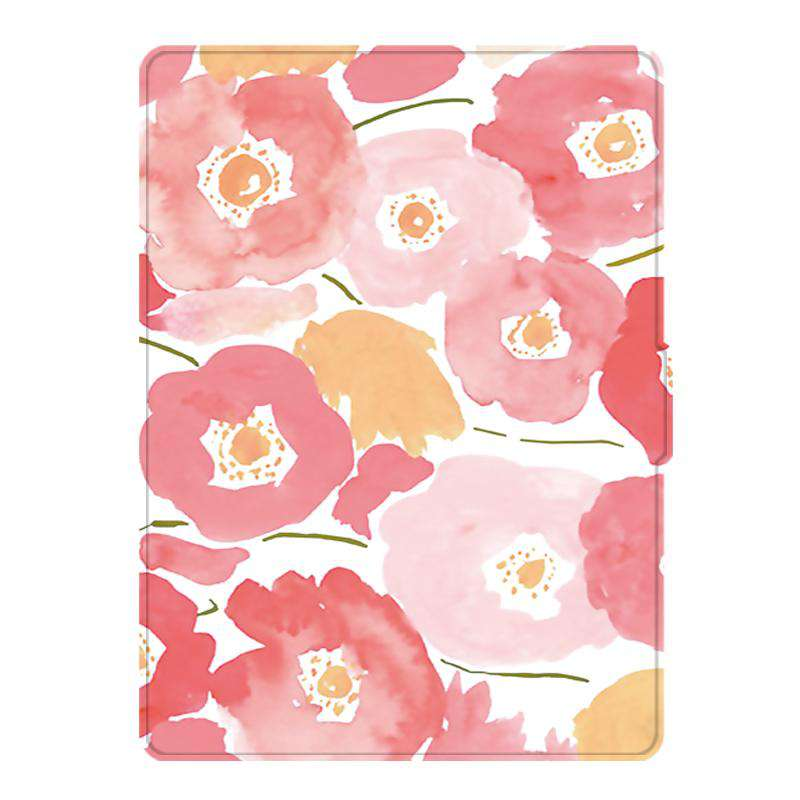 Romantic Floral Painted Protective Cover Case For Amazon Kindle