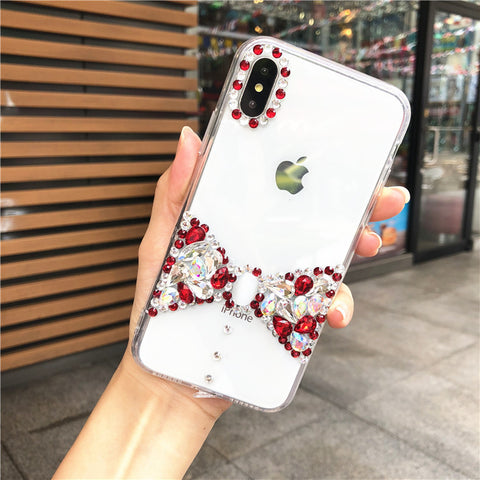 Bowknot Rhinestone Clear Transparent Phone Case for Samsung gallery 1