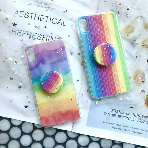 Glitter Rainbow Printed Phone Case For All iPhone with Phone Stand