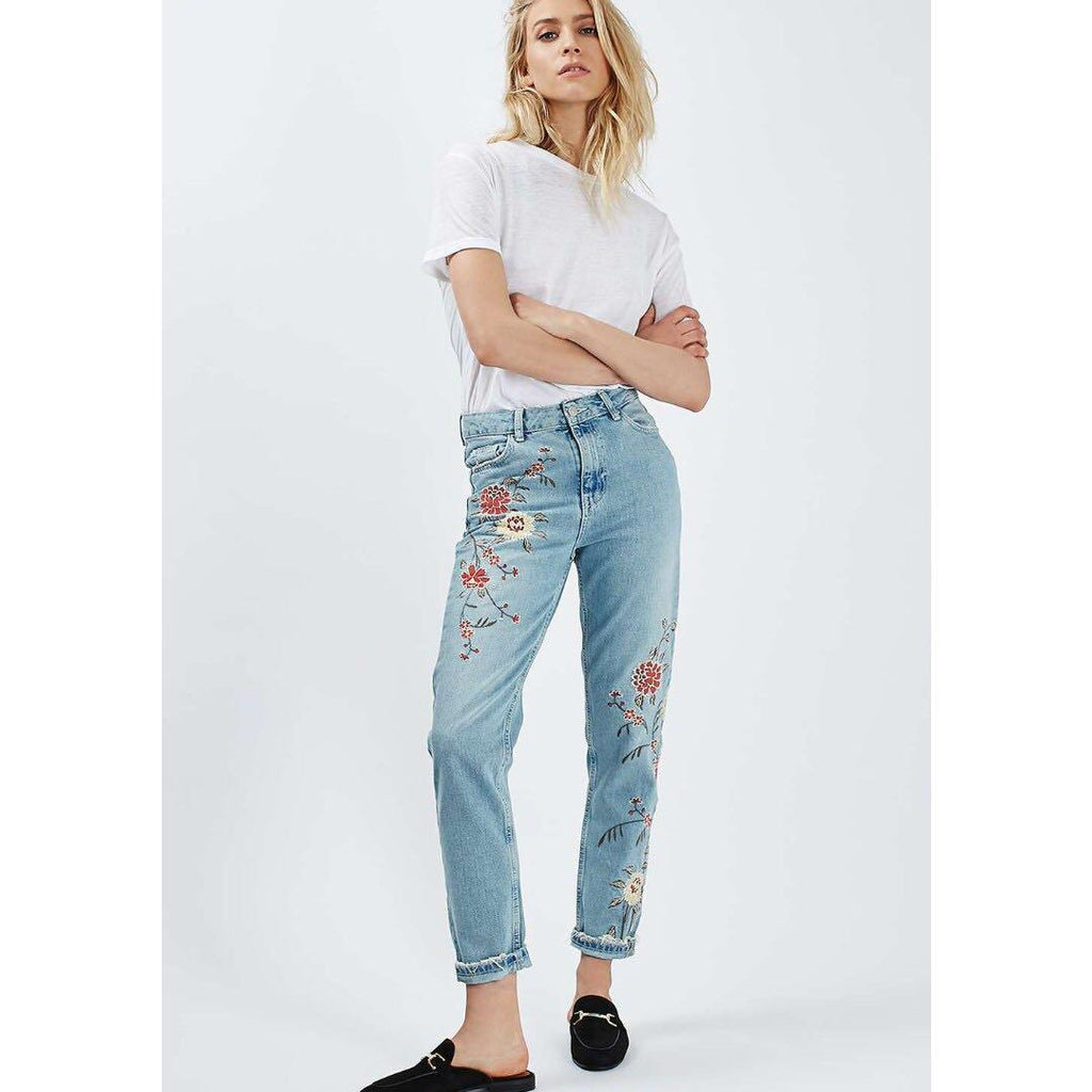 Embroidered High Waist Skinny Cropped Jeans