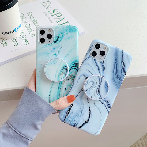 Frosted Marble Print iPhone Case with Phone Holder