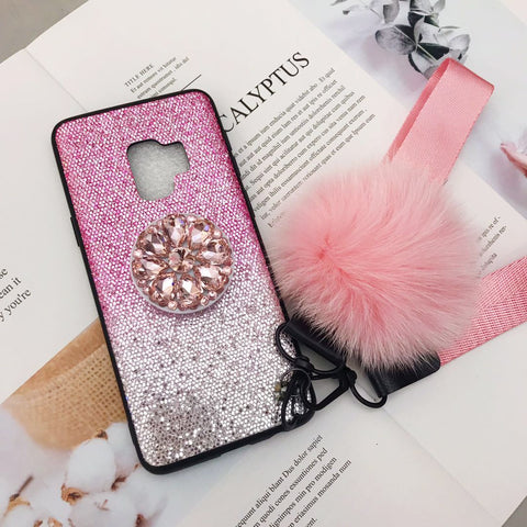 Gradient Shining Phone Case for Samsung with Phone Holder and Pom-pom gallery 9
