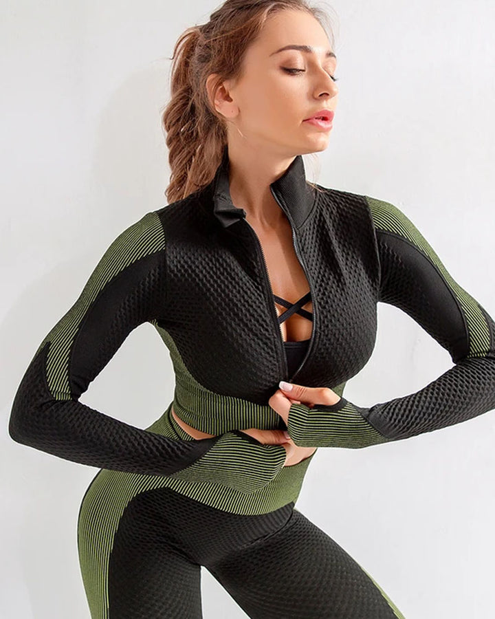 Zip Up Seamless Striped Crop Sports Top gallery 1