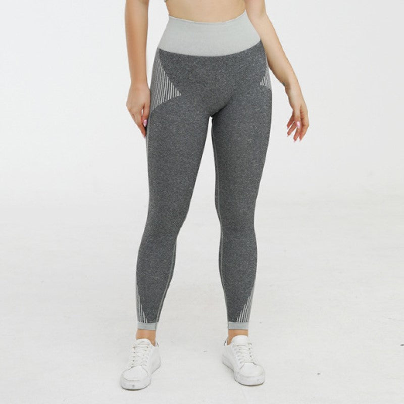Striped Detail Knit Seamless High Waist Leggings