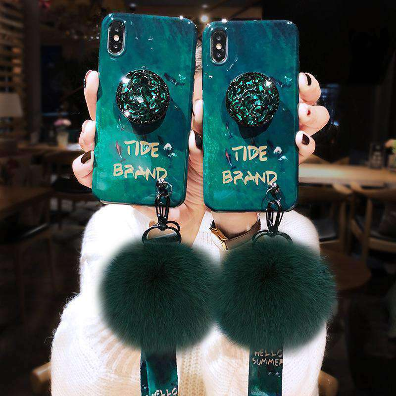 Pom Decor Phone Case With Phone Holder for Samsung