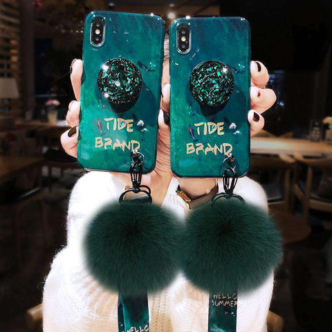 Pom Decor Phone Case for Samsung with Phone Holder and Pom-pom