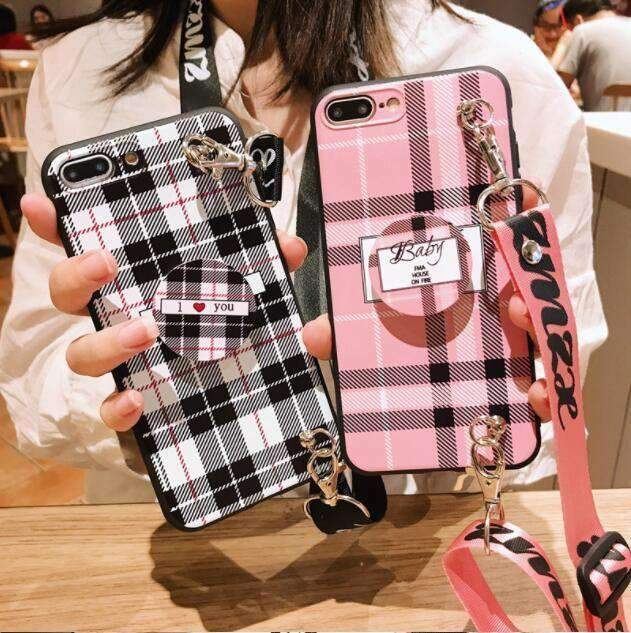 Chic Grid Phone Case for Samsung with Phone Holder and Strap
